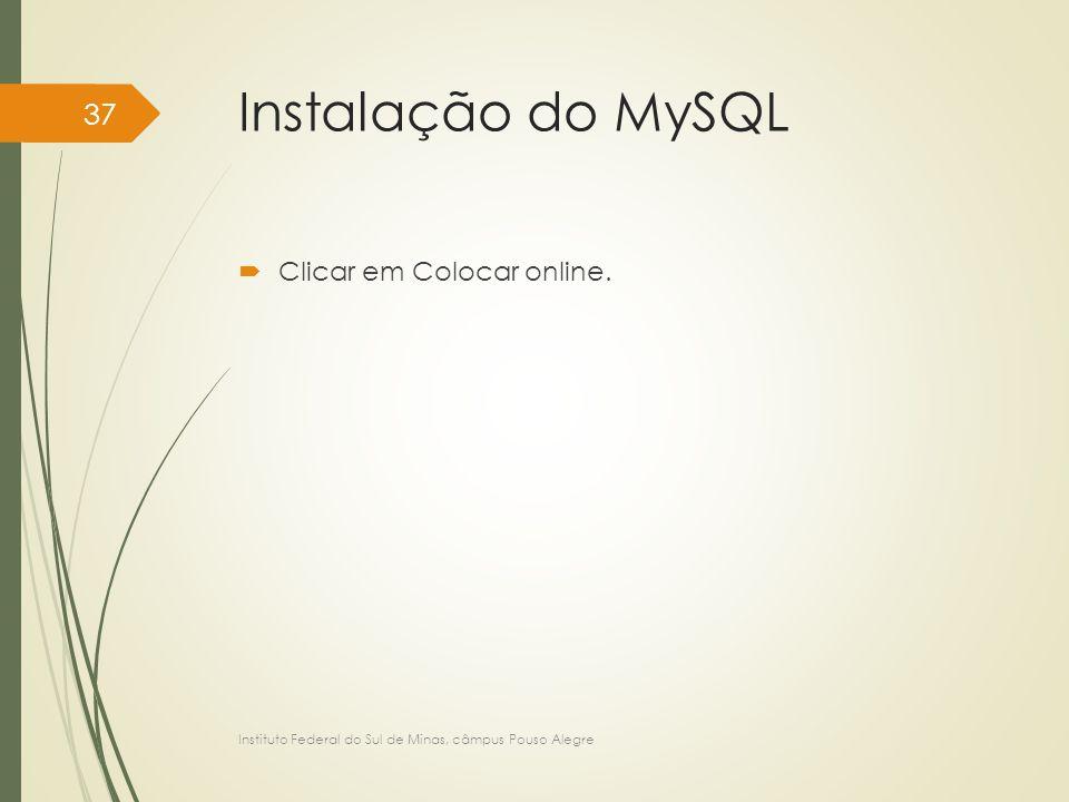Instalação do MySQL Clicar em Colocar online.