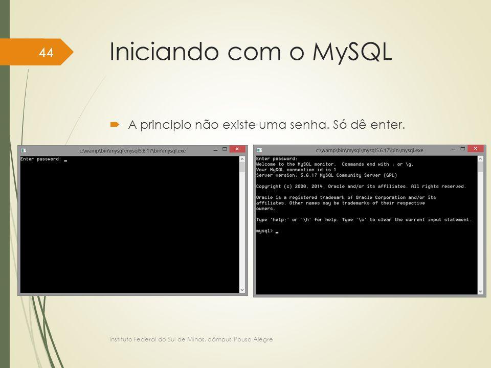 Iniciando com o MySQL A principio não existe uma senha. Só dê enter.