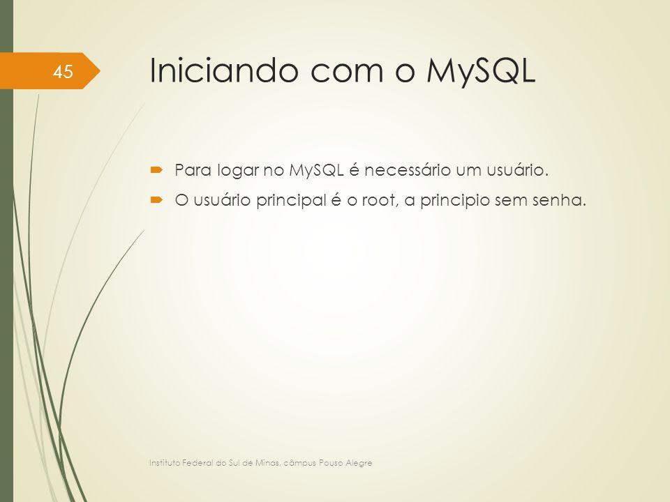 Iniciando com o MySQL Para logar no MySQL é necessário um usuário.