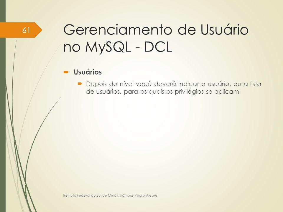 Gerenciamento de Usuário no MySQL - DCL
