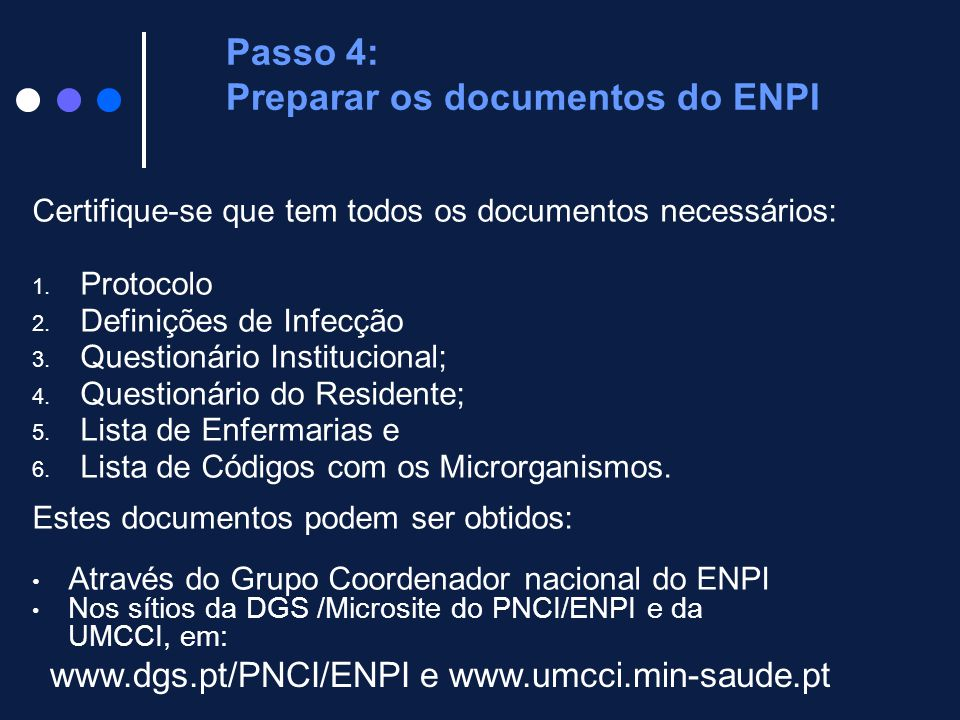Passo 4: Preparar os documentos do ENPI
