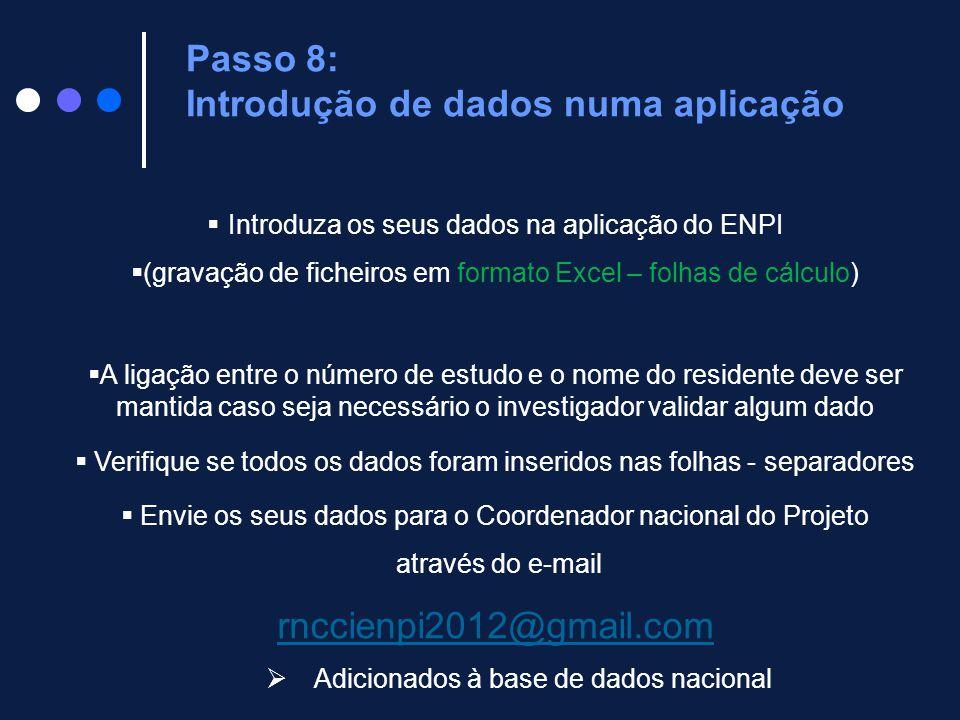 Passo 8: Introdução de dados numa aplicação