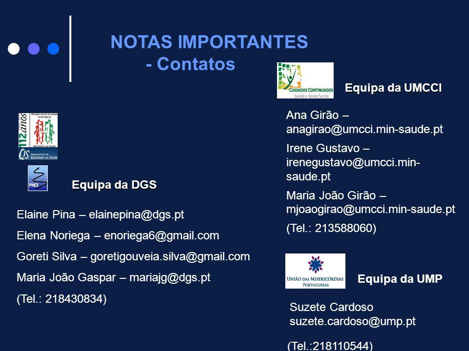 NOTAS IMPORTANTES - Contatos