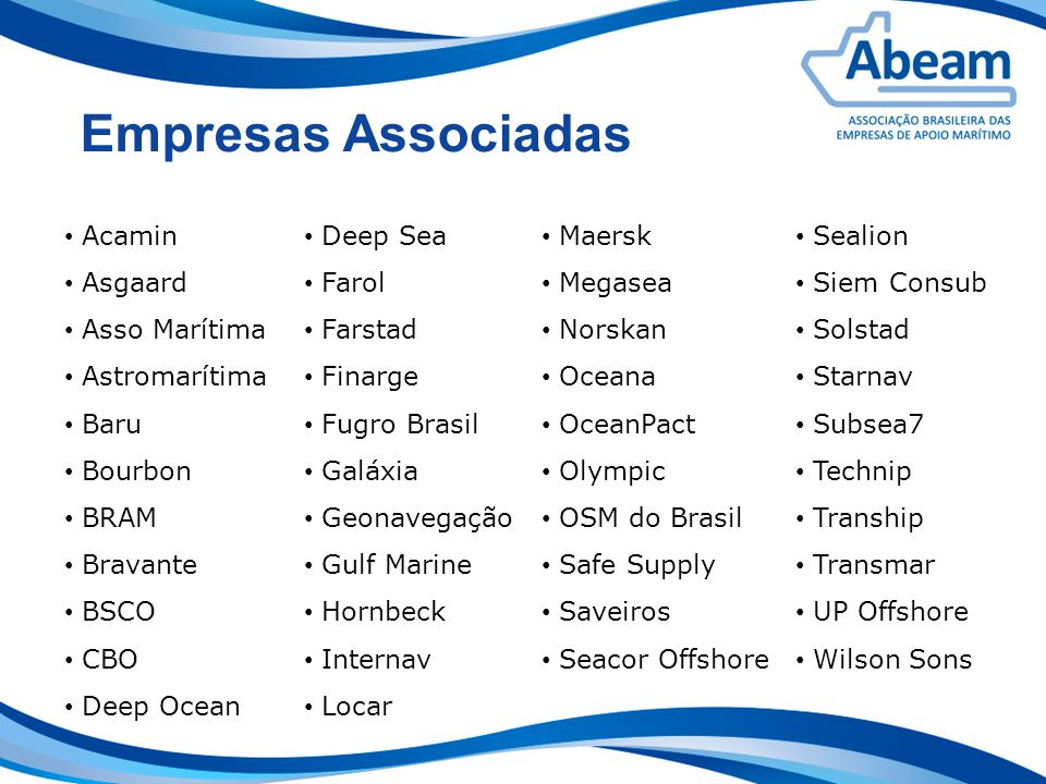 Empresas Associadas Acamin Asgaard Asso Marítima Astromarítima Baru