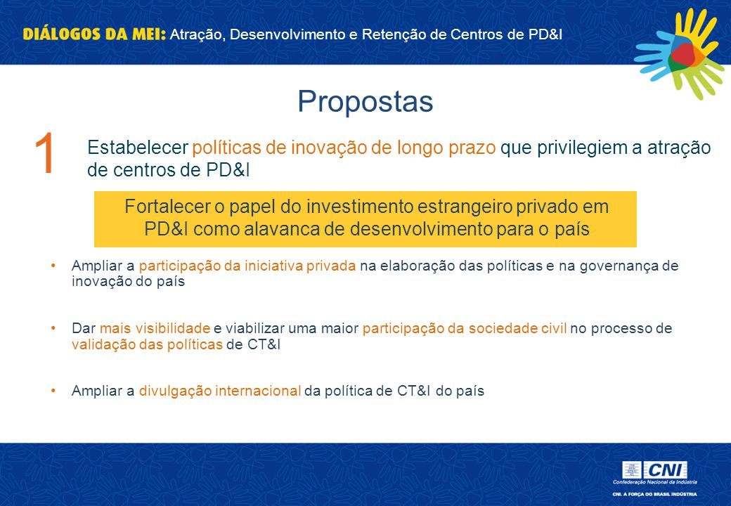 Propostas 1. Estabelecer políticas de inovação de longo prazo que privilegiem a atração de centros de PD&I.