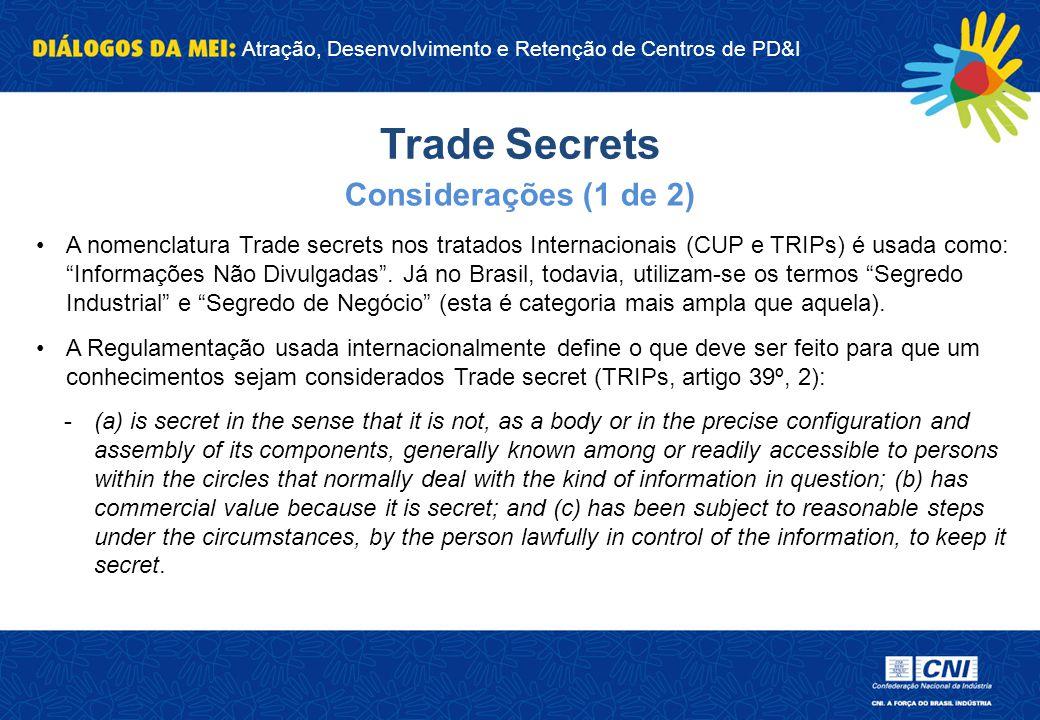 Trade Secrets Considerações (1 de 2)