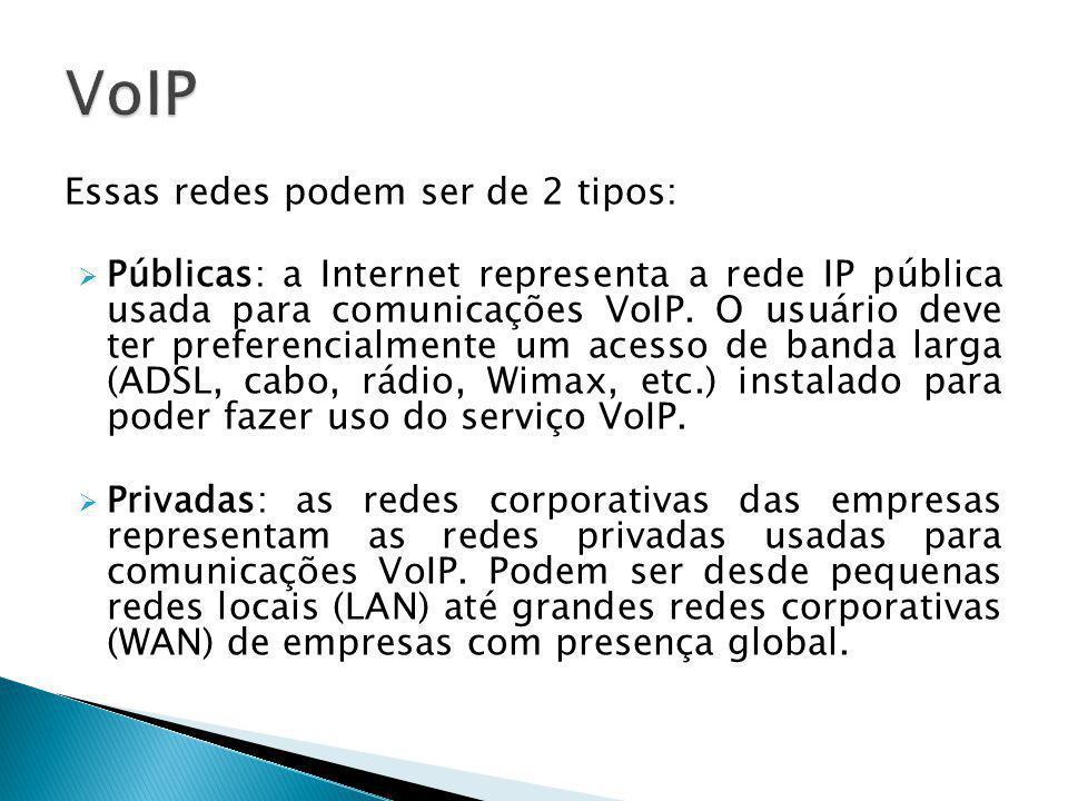 VoIP Essas redes podem ser de 2 tipos: