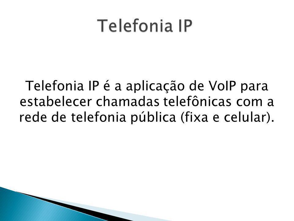 Telefonia IP Telefonia IP é a aplicação de VoIP para estabelecer chamadas telefônicas com a rede de telefonia pública (fixa e celular).