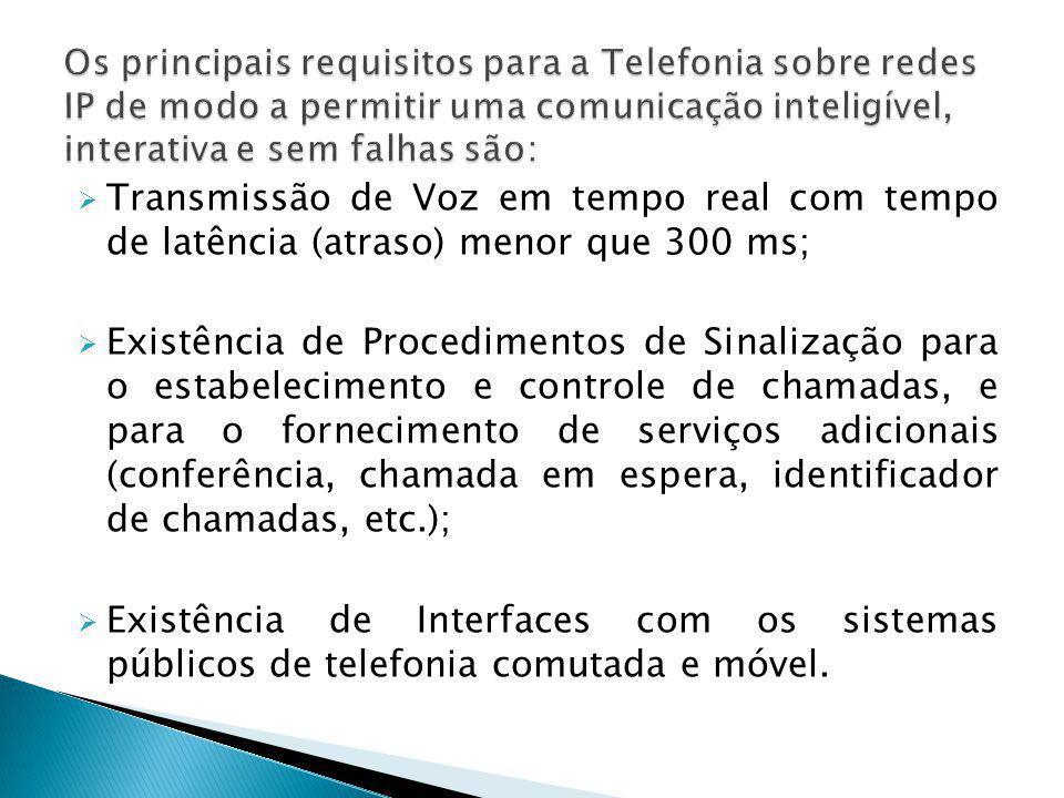 Os principais requisitos para a Telefonia sobre redes IP de modo a permitir uma comunicação inteligível, interativa e sem falhas são: