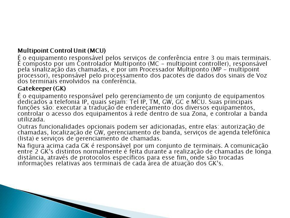 Multipoint Control Unit (MCU) É o equipamento responsável pelos serviços de conferência entre 3 ou mais terminais.