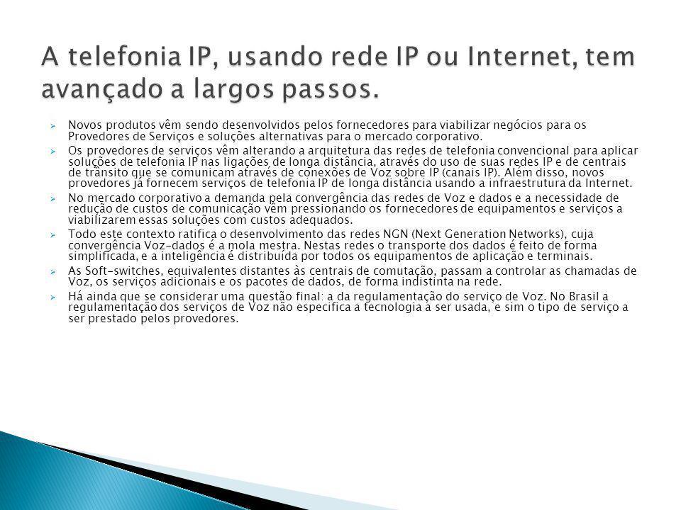 A telefonia IP, usando rede IP ou Internet, tem avançado a largos passos.