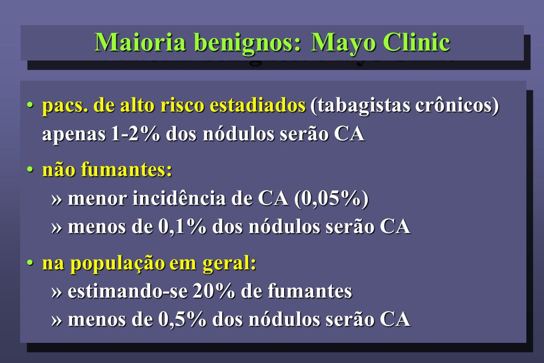 Maioria benignos: Mayo Clinic