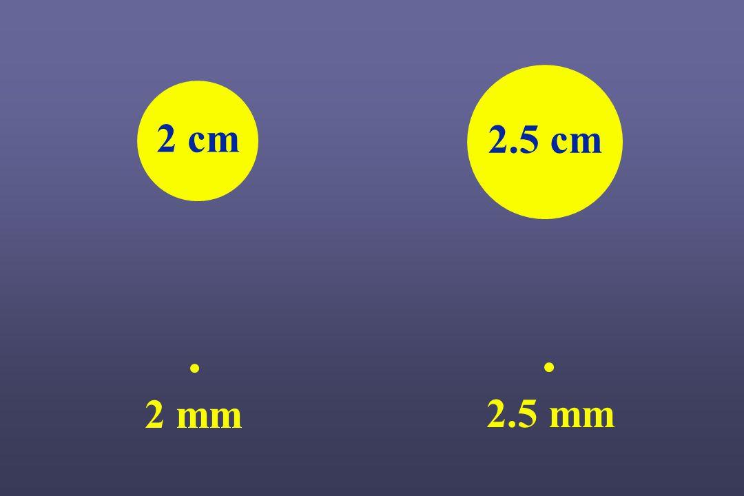 2.5 cm 2 cm 2 mm 2.5 mm