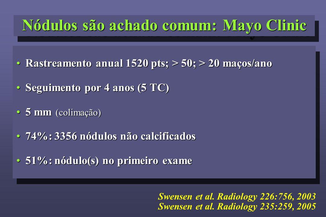 Nódulos são achado comum: Mayo Clinic