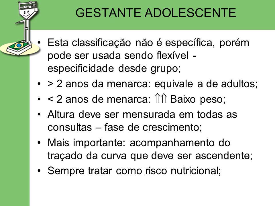 GESTANTE ADOLESCENTE Esta classificação não é específica, porém pode ser usada sendo flexível - especificidade desde grupo;