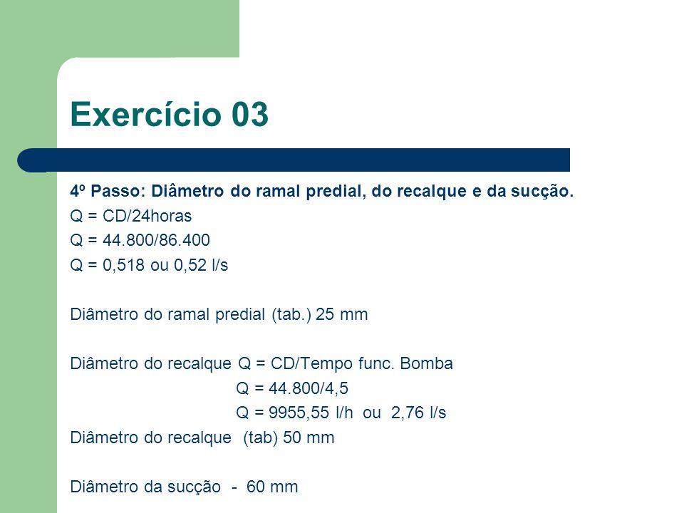 Exercício 03 4º Passo: Diâmetro do ramal predial, do recalque e da sucção. Q = CD/24horas. Q = 44.800/86.400.