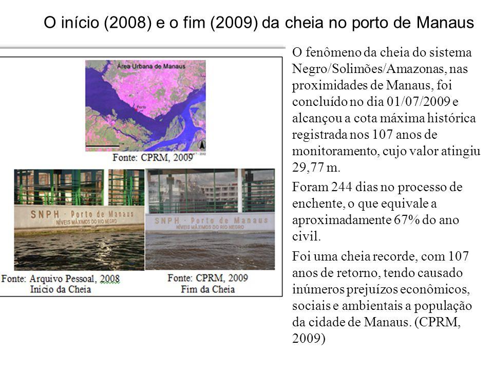 O início (2008) e o fim (2009) da cheia no porto de Manaus