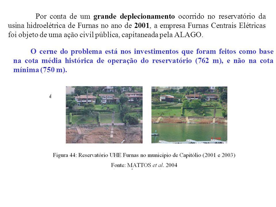 Por conta de um grande deplecionamento ocorrido no reservatório da usina hidroelétrica de Furnas no ano de 2001, a empresa Furnas Centrais Elétricas foi objeto de uma ação civil pública, capitaneada pela ALAGO.