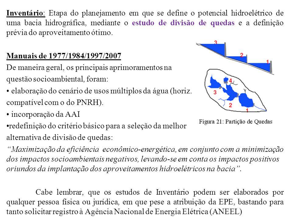 Inventário: Etapa do planejamento em que se define o potencial hidroelétrico de uma bacia hidrográfica, mediante o estudo de divisão de quedas e a definição prévia do aproveitamento ótimo.
