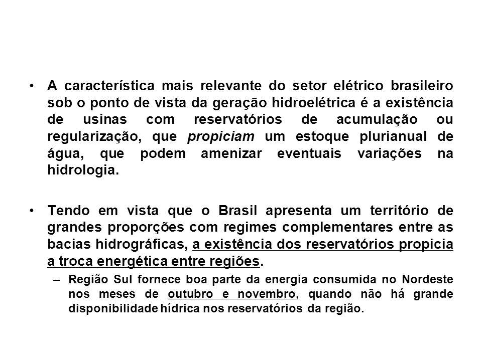 A característica mais relevante do setor elétrico brasileiro sob o ponto de vista da geração hidroelétrica é a existência de usinas com reservatórios de acumulação ou regularização, que propiciam um estoque plurianual de água, que podem amenizar eventuais variações na hidrologia.