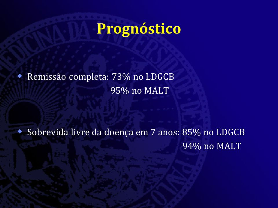 Prognóstico Remissão completa: 73% no LDGCB 95% no MALT