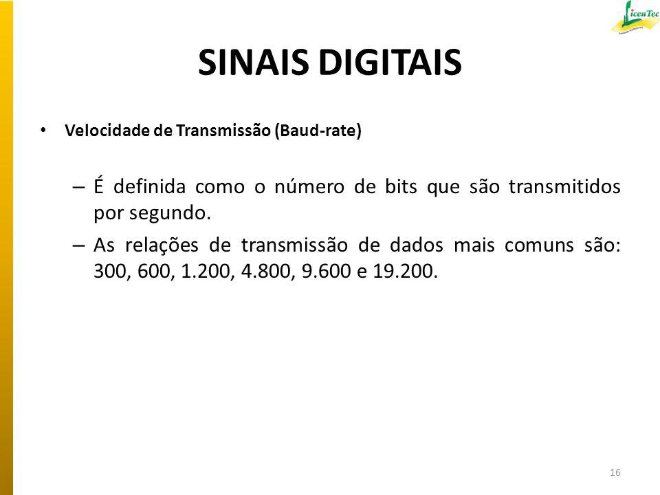 SINAIS DIGITAIS Velocidade de Transmissão (Baud-rate) É definida como o número de bits que são transmitidos por segundo.