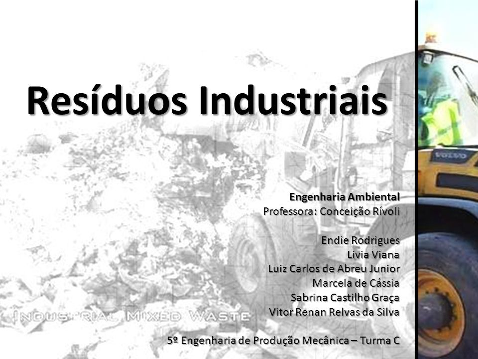 Resíduos Industriais Engenharia Ambiental Professora: Conceição Rívoli