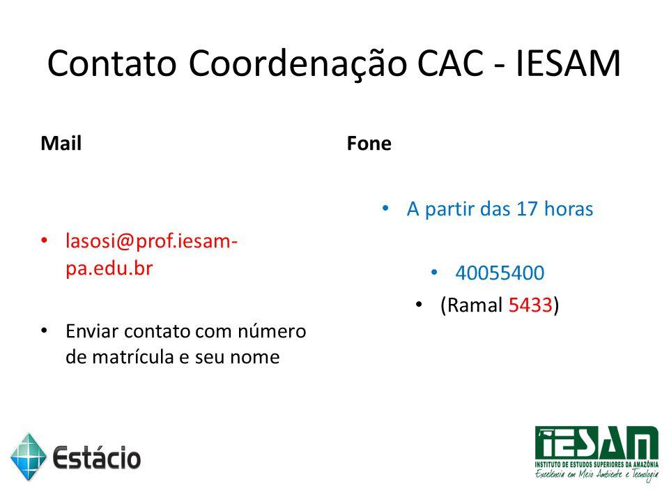 Contato Coordenação CAC - IESAM