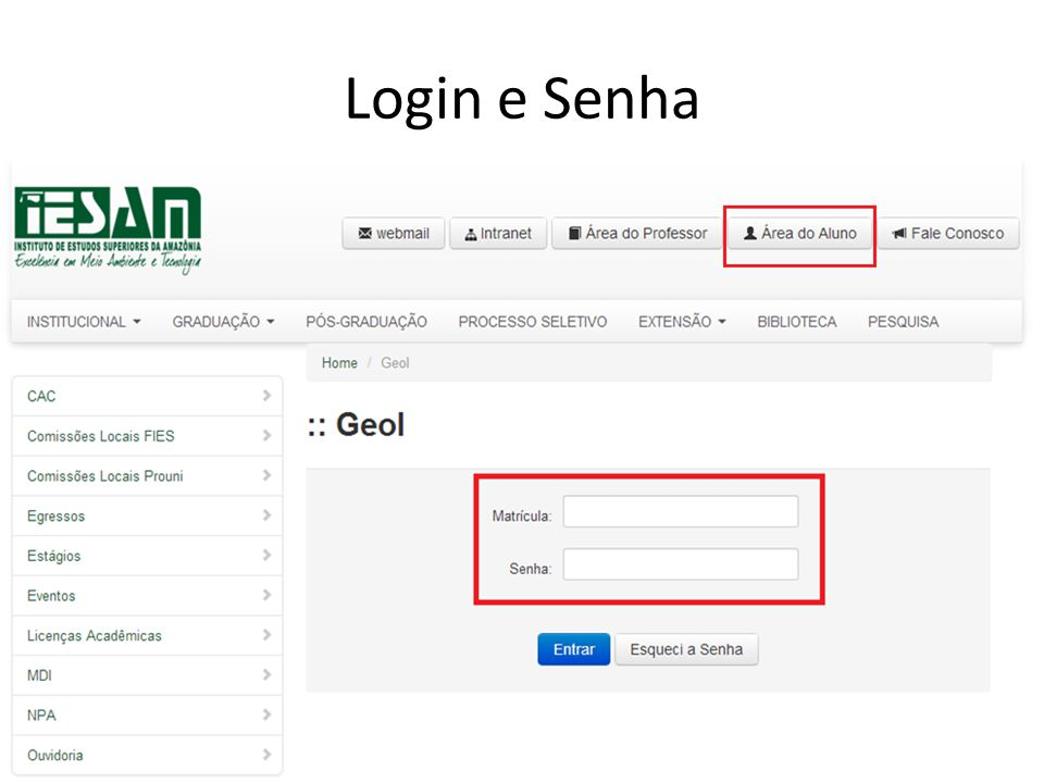 Login e Senha