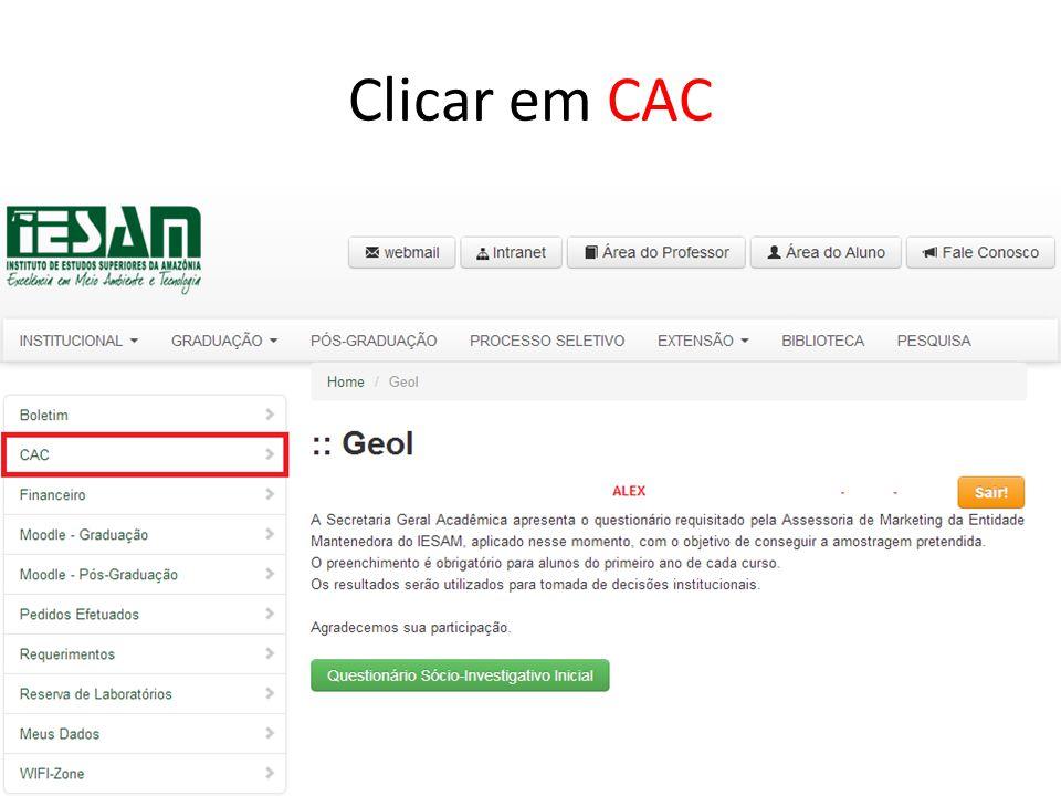 Clicar em CAC