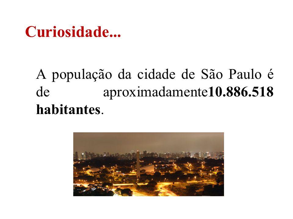 Curiosidade... A população da cidade de São Paulo é de aproximadamente10.886.518 habitantes.