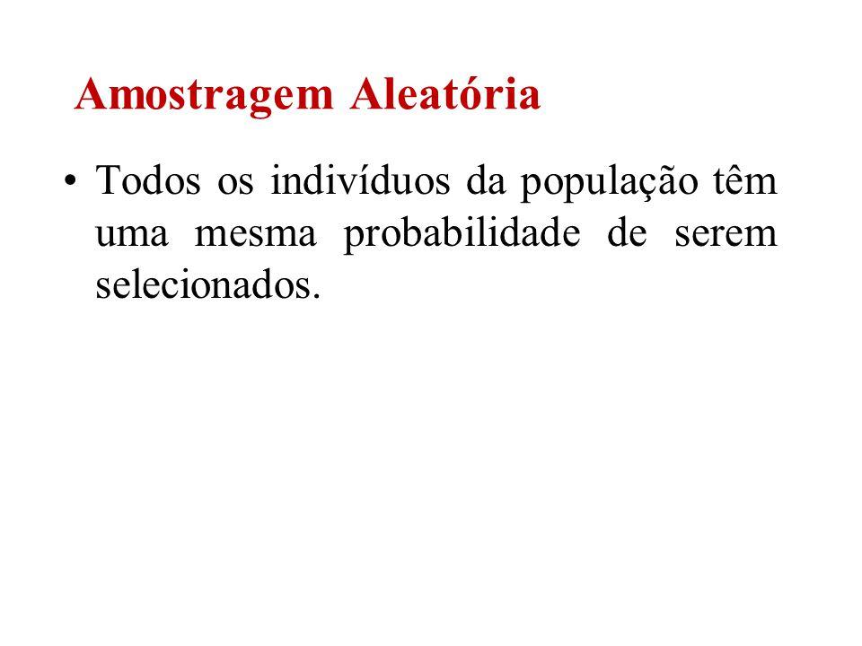 Amostragem Aleatória Todos os indivíduos da população têm uma mesma probabilidade de serem selecionados.