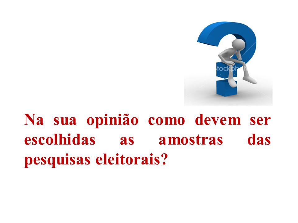 Na sua opinião como devem ser escolhidas as amostras das pesquisas eleitorais