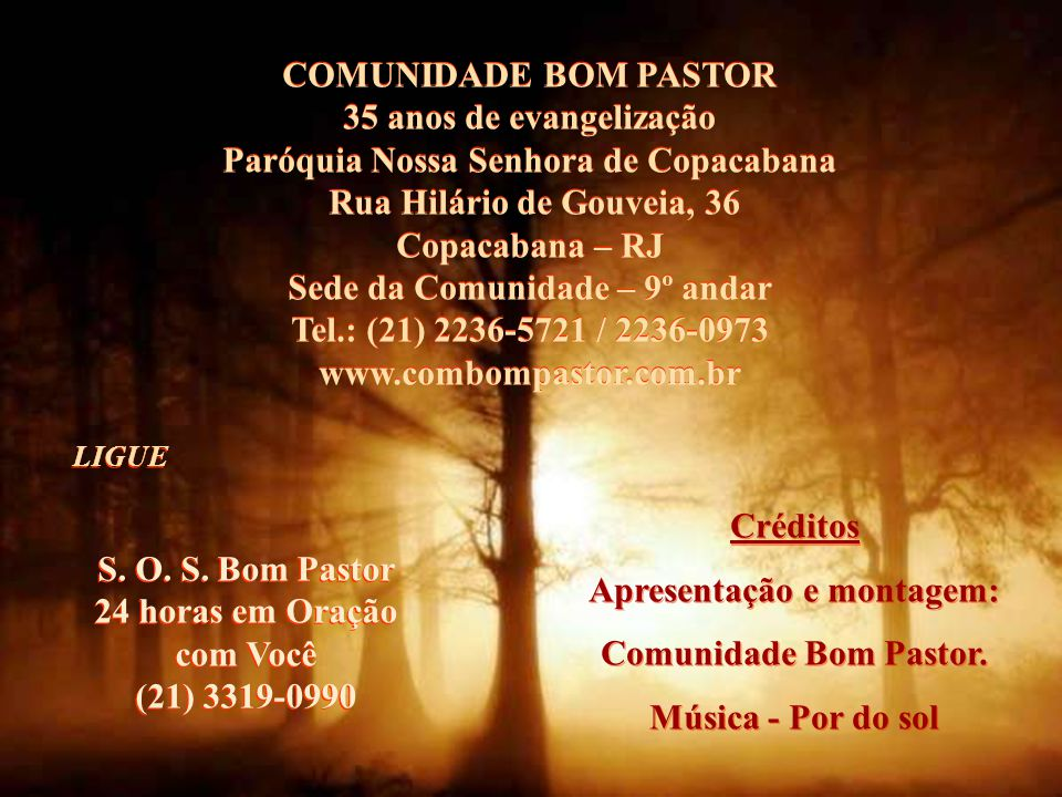 Paróquia Nossa Senhora de Copacabana Rua Hilário de Gouveia, 36