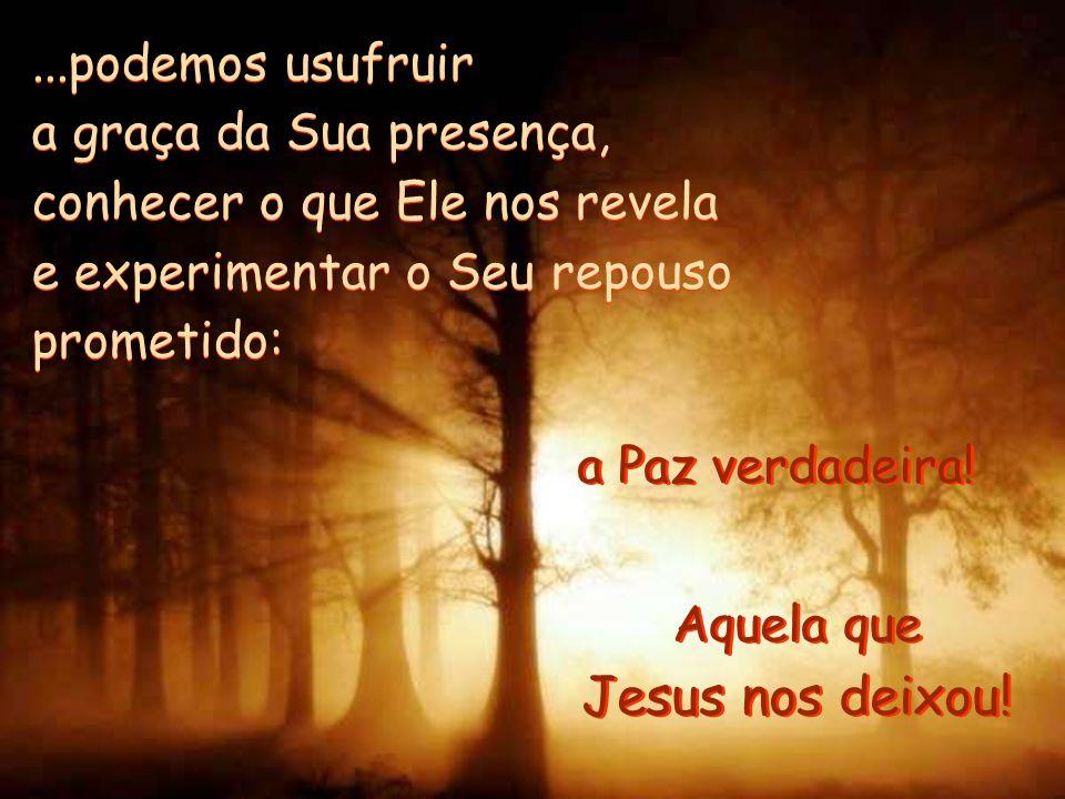 Jesus nos deixou! ...podemos usufruir a graça da Sua presença,