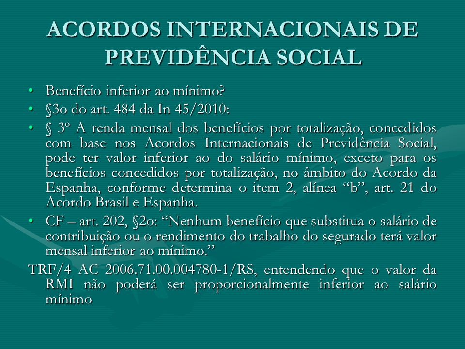ACORDOS INTERNACIONAIS DE PREVIDÊNCIA SOCIAL