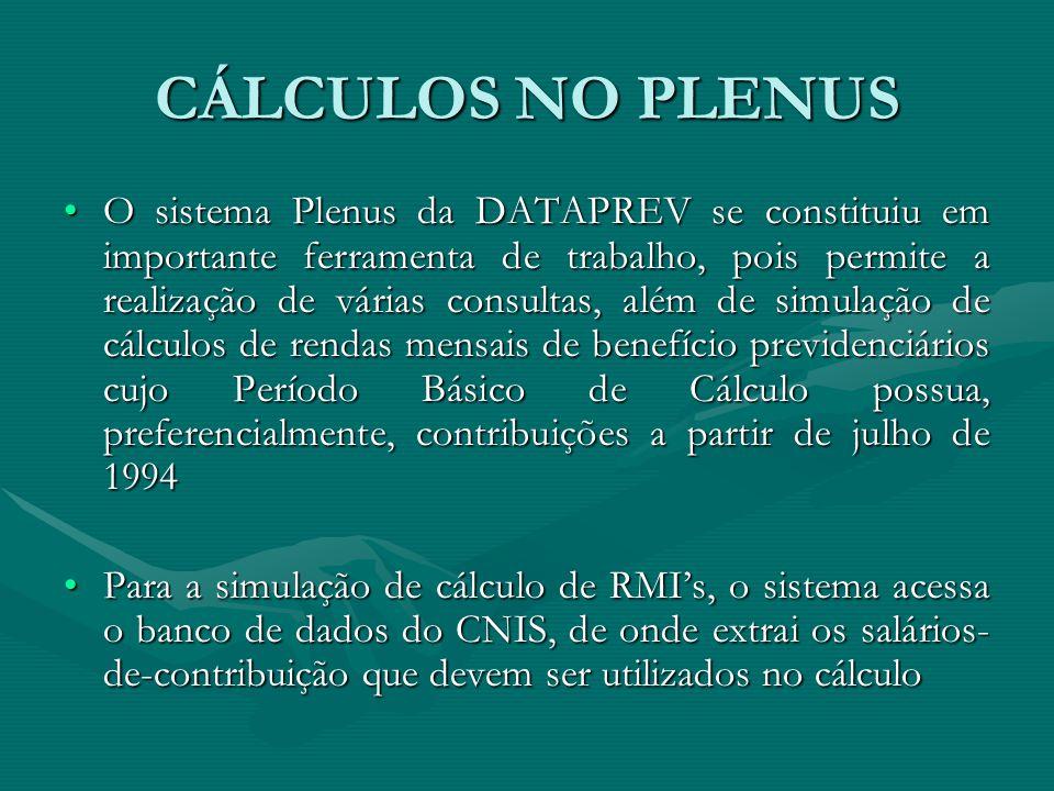 CÁLCULOS NO PLENUS