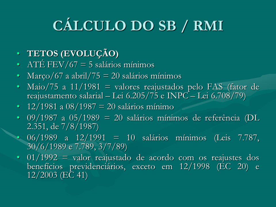 CÁLCULO DO SB / RMI TETOS (EVOLUÇÃO) ATÉ FEV/67 = 5 salários mínimos