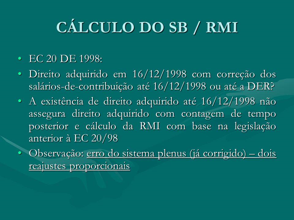 CÁLCULO DO SB / RMI EC 20 DE 1998: