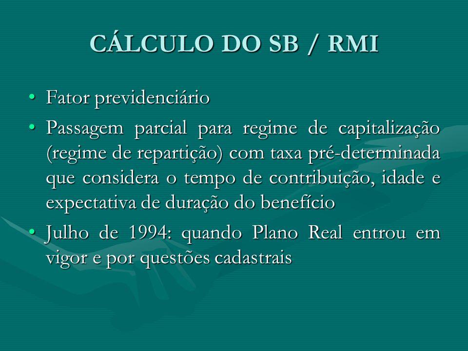CÁLCULO DO SB / RMI Fator previdenciário