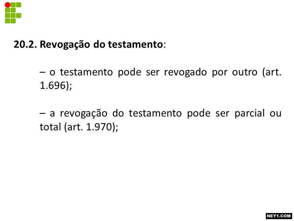 20.2. Revogação do testamento: