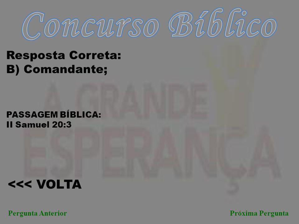 Concurso Bíblico <<< VOLTA Resposta Correta: B) Comandante;