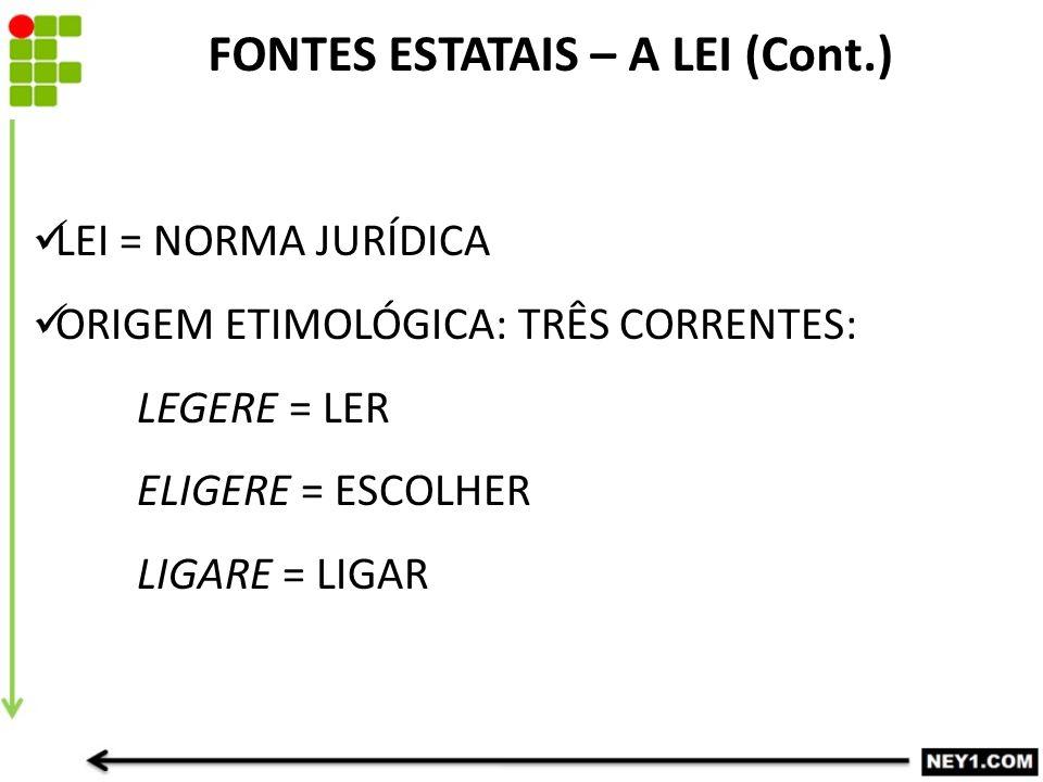 FONTES ESTATAIS – A LEI (Cont.)