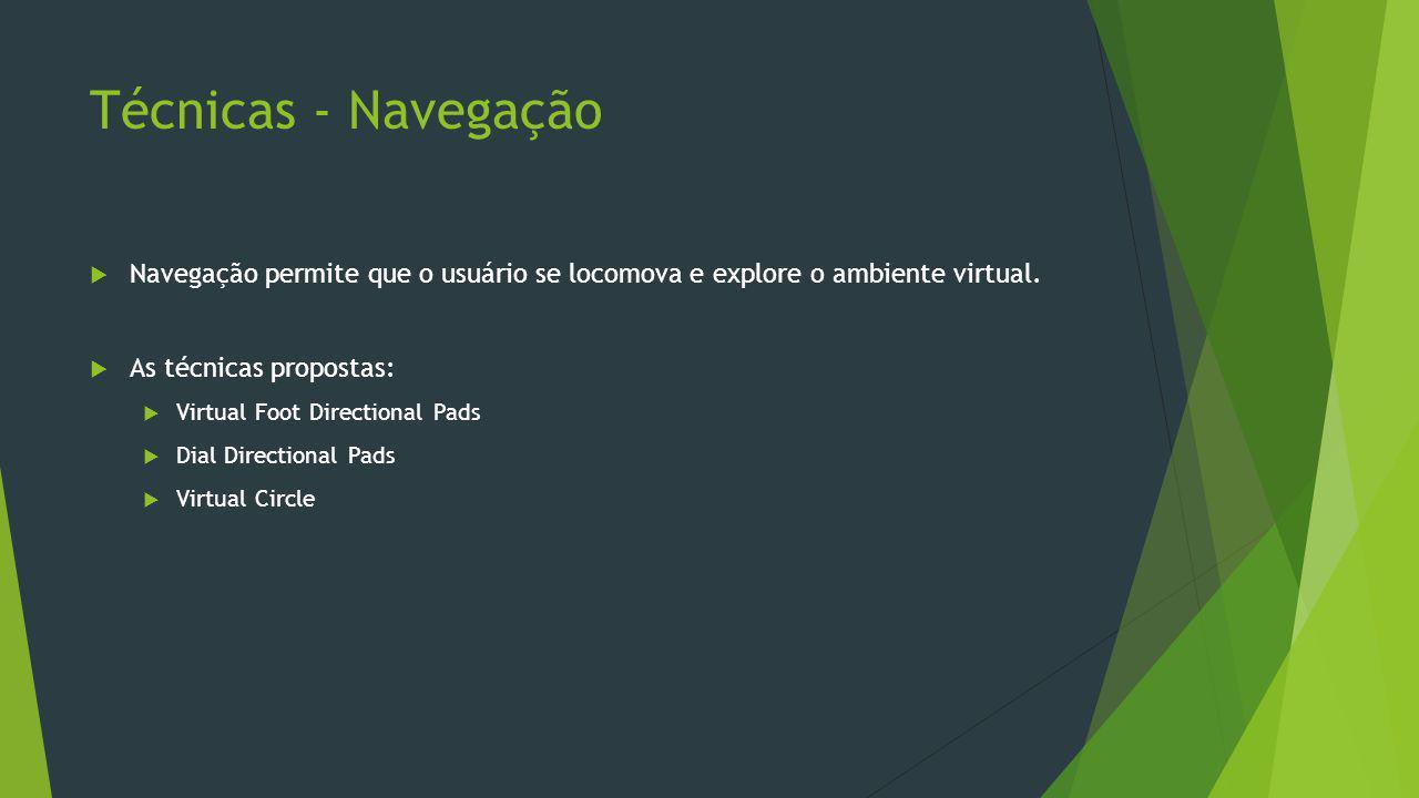 Técnicas - Navegação Navegação permite que o usuário se locomova e explore o ambiente virtual. As técnicas propostas: