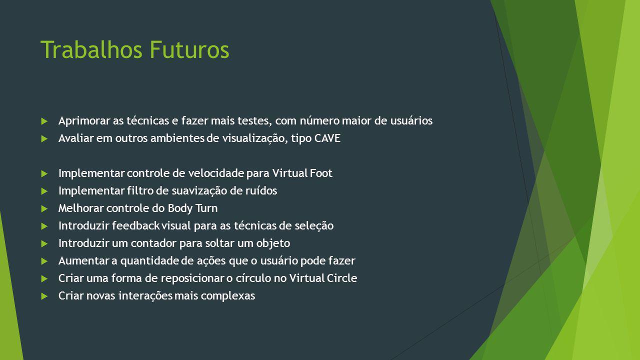 Trabalhos Futuros Aprimorar as técnicas e fazer mais testes, com número maior de usuários. Avaliar em outros ambientes de visualização, tipo CAVE.