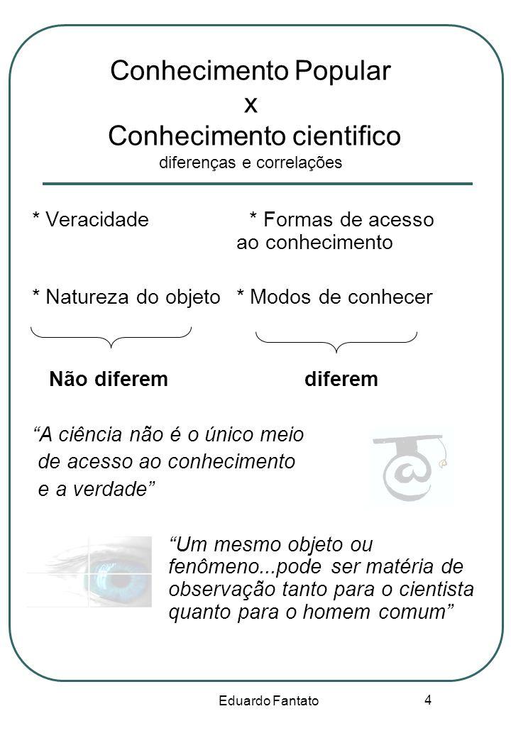 Conhecimento Popular x Conhecimento cientifico diferenças e correlações