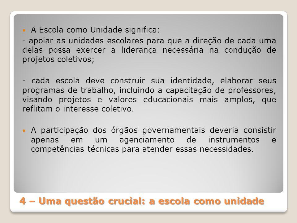 4 – Uma questão crucial: a escola como unidade