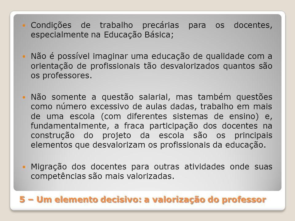5 – Um elemento decisivo: a valorização do professor
