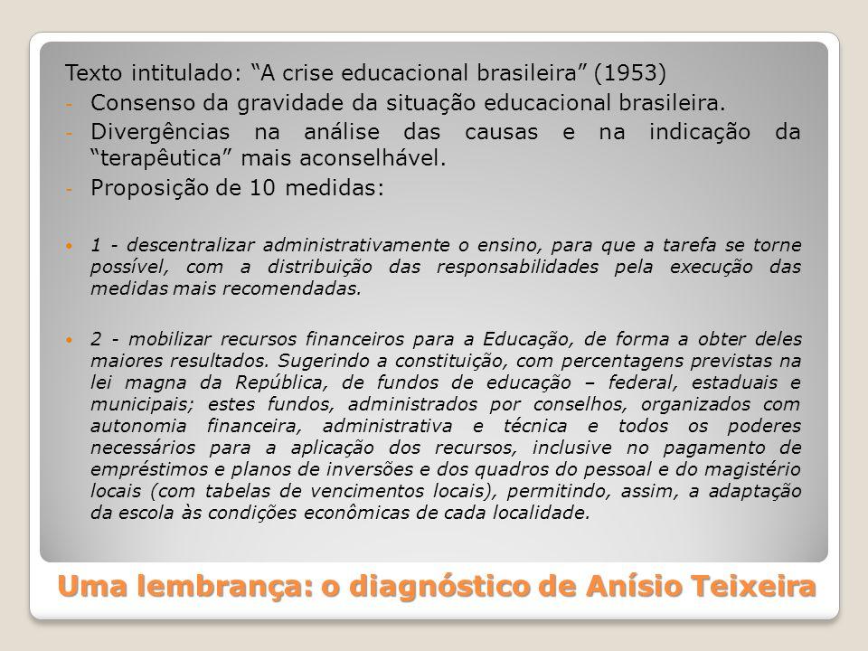 Uma lembrança: o diagnóstico de Anísio Teixeira