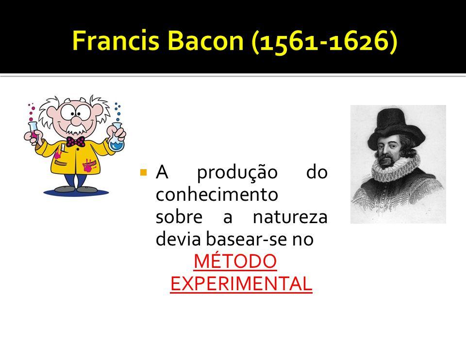 Francis Bacon (1561-1626) A produção do conhecimento sobre a natureza devia basear-se no.